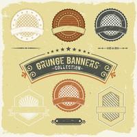 Banner de grunge vintage e coleção de rótulos