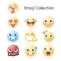 ícones de coleção de emoji de mídia social com expressões e reações variadas vetor