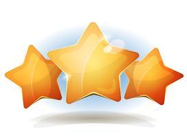 Engraçado Três Estrelas Icons Para Ui Game Score vetor