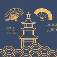 leques de construção de pagode design de linha de decoração de elemento oriental vetor