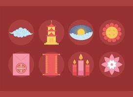 elemento oriental decoração flor pagode ícones de rolagem e ornamentos definir design de cores vetor
