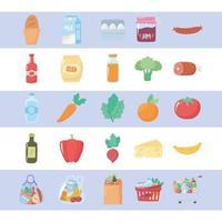 compras de supermercado, alimentos orgânicos, frutas e vegetais e produtos do mercado vetor