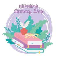 dia internacional da alfabetização, óculos de tinta na pilha de livros de educação vetor