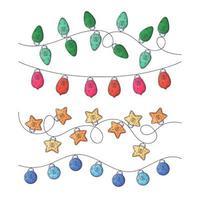 mão desenhada guirlanda de Natal com vetor de lanternas.