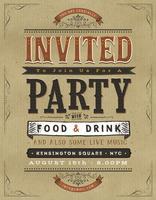 Sinal de convite de festa vintage vetor
