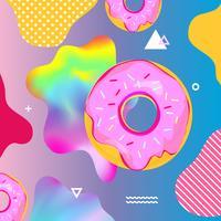 Fundo colorido fluido com ilustração vetorial de donuts vetor