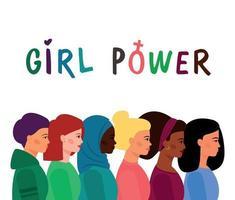 uma multidão de garotas de várias nacionalidades, diferentes cores de pele e cabelo, de pé em seu perfil. vetor