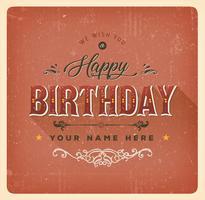 Cartão vermelho do feliz aniversario do vintage vetor
