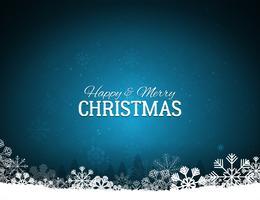 Fundo azul de feliz Natal com flocos de neve vetor