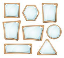Sinais de folhas de papel no conjunto de papelão vetor