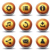 Ícones de sinal de estrada e botões para o jogo de interface do usuário