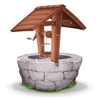 Poço de água de pedra e madeira vetor