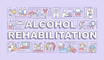 banner de conceitos de palavras para reabilitação de álcool vetor