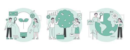 ilustração de marketing empresarial. profissionais pensando em ideias para proteger o meio ambiente. ilustração em vetor mínimo estilo design plano.