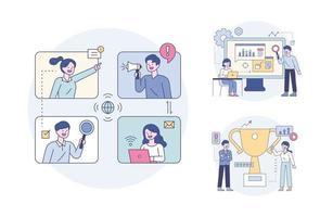 profissionais de negócios reunidos na rede e analisando estratégias. ilustração em vetor mínimo estilo design plano.