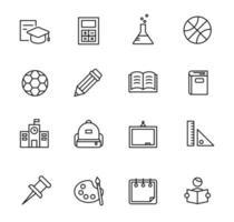conjunto de ícones de contorno preto. projeto de pictograma de educação. delinear ilustração vetorial simples. vetor