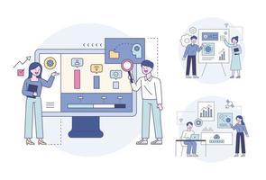 profissionais de negócios olhando dados gráficos e discutindo opiniões. ilustração em vetor mínimo estilo design plano.