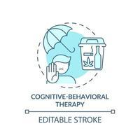 ícone do conceito de terapia cognitivo-comportamental vetor