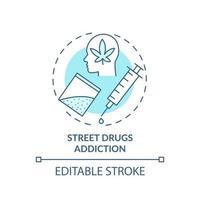 ícone do conceito de vício em drogas de rua vetor