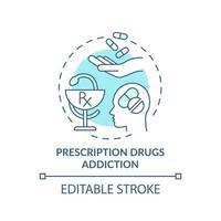 ícone do conceito de dependência de medicamentos prescritos vetor