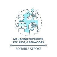 ícone do conceito de gerenciamento de pensamentos, sentimentos e comportamentos vetor
