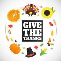 feliz dia de ação de graças ilustração vetorial de cartaz de design de estilo simples com peru folhas de outono girassol, milho e abóbora peru com chapéu e penas coloridas celebram feriados vetor