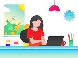 mulher sem rosto sentada na mesa ilustração vetorial gradiente version.eps vetor
