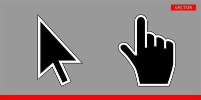 ilustração do vetor do cursor de seta preta e ícones do cursor de mão