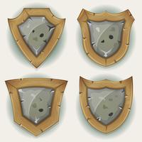 Ícones de segurança de escudo de pedra e madeira