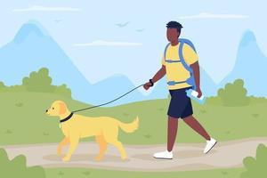 Trekker caminhada com cachorro companheiro ilustração vetorial de cor lisa vetor