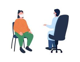 médico e paciente em máscara de conjunto de caracteres sem rosto de vetor de cor lisa