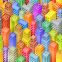 Fundo de cidade isométrica sem emenda dos desenhos animados vetor