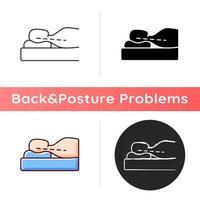 posição correta de dormir para reduzir o ícone de dor no pescoço. cabeça de amortecimento de travesseiro. postura deitada de costas. mantendo o alinhamento natural. estilos de cor preta e rgb linear. ilustrações vetoriais isoladas vetor