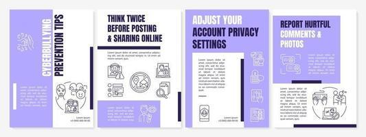 Modelo de folheto de dicas de prevenção de cyberbullying. ciberespaço seguro. folheto, livreto, impressão de folheto, design da capa com ícones lineares. layouts de vetor para apresentação, relatórios anuais, páginas de anúncios