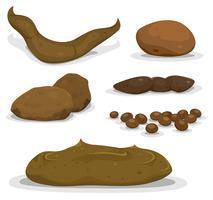 Conjunto de esterco de vários animais dos desenhos animados vetor