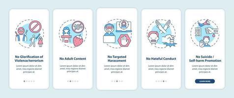 regras de segurança de mídia social integrando a tela da página do aplicativo móvel com conceitos. nenhum assédio alvo passo a passo 5 etapas instruções gráficas. modelo de vetor ui, ux, gui com ilustrações coloridas lineares