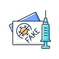 ícone de cor rgb de cartão de vacinação falso. certificado falso de coronavírus. passaporte fabricado para vacina covid. cuidados de saúde e medicina. falsificar documentos médicos. ilustração vetorial isolada vetor