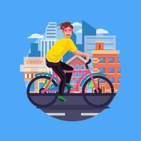 Apaixonar-se cara ciclismo na cidade vetor