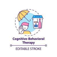 ícone do conceito de terapia cognitivo-comportamental. métodos de tratamento da dependência. tratamento psicológico. medicina ideia abstrata linha fina ilustração. desenho de cor de contorno isolado vetor. curso editável vetor