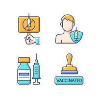 imunização contra o conjunto de ícones de cores de vírus rgb. protesto antivaxxer. vacinação de adultos. passe aprovado para paciente vacinado. frasco com seringa. cuidados de saúde e medicina. ilustrações vetoriais isoladas vetor