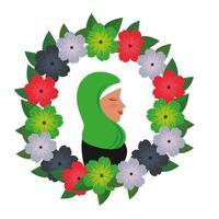 Perfil de mulher islâmica com burca tradicional em guirlanda floral vetor