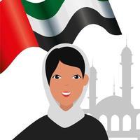 mulher islâmica com burka tradicional e bandeira árabe na mesquita vetor