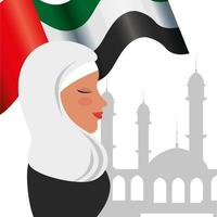 Perfil de mulher islâmica com a tradicional bandeira da burca e da Arábia na mesquita vetor