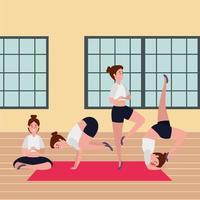 grupo de garotas de beleza praticando posição de pilates na academia vetor