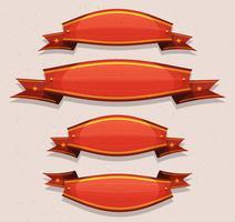 Banners e fitas de circo vermelho em quadrinhos vetor