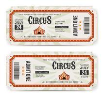 Bilhetes de circo frente e verso vetor