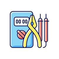 eletricista ferramentas ícone de cor rgb. instrumentos de teste. garantindo a segurança ideal. chaves de fenda, alicates. campo da engenharia. ilustração isolada do vetor. conjunto de ferramentas eletricista desenho de linha preenchido simples vetor