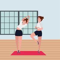 casal de garotas de beleza praticando posição de pilates na academia vetor