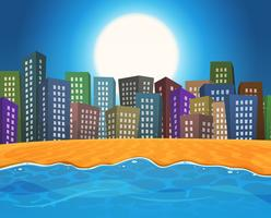 Praia de verão pela cidade vetor