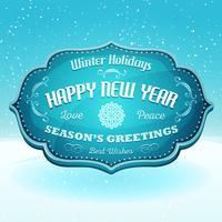 Feliz ano novo e Banner de saudações da temporada vetor